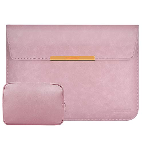 TOWOOZ 13.3 Inch Laptop Sleeve Case Compatible with 2016-2020 MacBook Air/MacBook Pro 13-13.3 inch/iPad Pro 12.9 / Dell XPS 13/ Surface Pro X, PU Leather Bag (13-13.3, PU Pink)