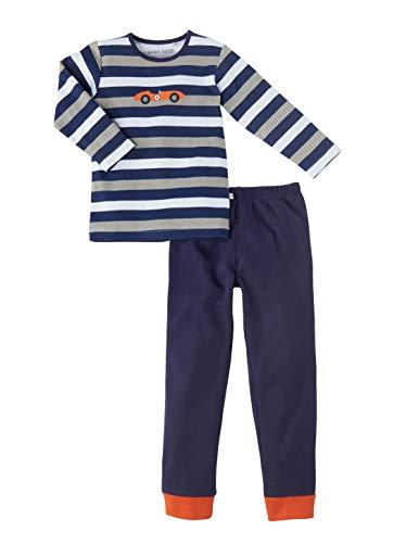Bio Kinder Schlafanzug 2-teilig 100% Bio-Baumwolle (kbA) GOTS zertifiziert, Blau/Grau/Weiß, 122/128
