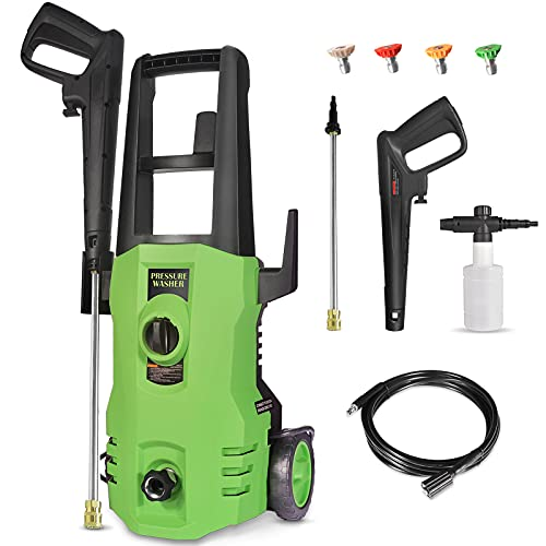 Zeccos Pressure Washer, 3500 PSI / 2.8 GPM 1600W Electric Power Washer with 4 Nozzles, Foam Cannon for Cleaning Cars, Driveways, Garden