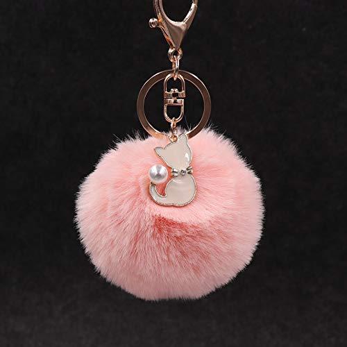 rickie_cao Lindo llavero de piel de gato rosa pompón bola de piel falsa llavero pompón esponjoso llavero bolsa encantos llavero regalo del Día de San Valentín