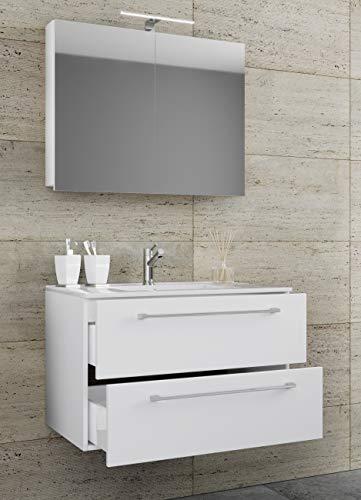 VCM 3-TLG. Waschplatz Set Waschtisch Waschbecken Keramik Sentas Spiegelschrank 2 Schubladen Breite 80 cm, Weiß