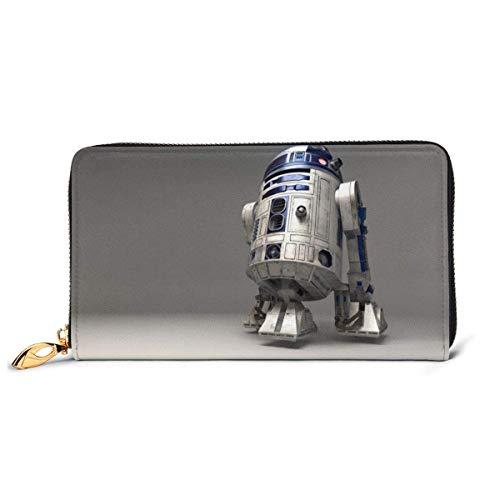 AOOEDM Star Robot R2 D2 Wars Cartera de Bloqueo Cartera de Cuero Genuino Cremallera Alrededor del Titular de la Tarjeta Organizador Embrague