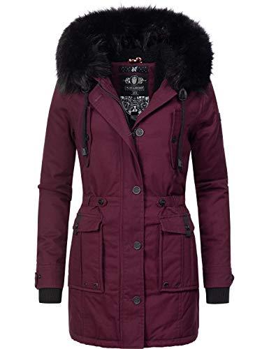 Navahoo Damen Winter Mantel Baumwoll Parka Luluna Weinrot Gr. XL