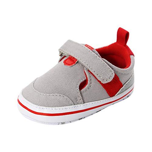 Deloito Krabbelschuhe Herbst Babyschuhe Mädchen Jungen Baumwollfabrik Lauflern Schuhe Kinder Freizeit Klettverschluss Wanderschuhe (Grau,11 EU)