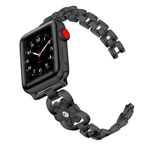 Metal Acero Inoxidable Correas Compatible con Apple Watch 38mm/40mm 44mm/42mm, Ajustable Banda Correa Deportivo Pulseras de Repuesto para iWatch Series 6/5/4/3/2/1/SE Mujer y Hombre, Negro