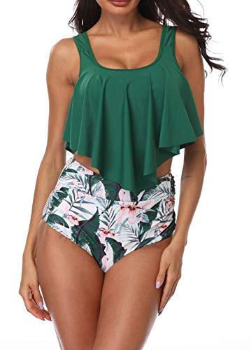 B2prity tweedelige badpak hoge taille broek dames schattige ruffles strap badpak crop top flounce bikini