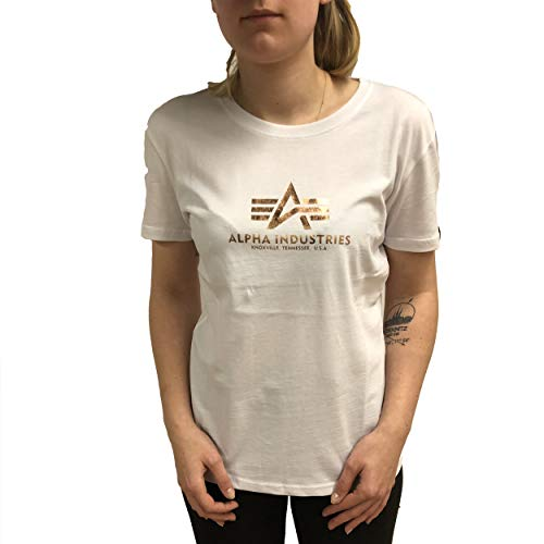 ALPHA INDUSTRIES Camiseta para mujer New Basic T Wmn Color blanco y...