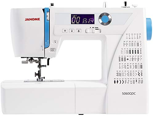 Janome 5060 QDC máquina de coser con tabla de extensión, 60 puntos, pantalla LCD