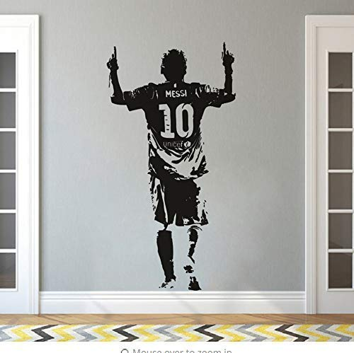 Sunshine Grocery Living Room Wall Stickers Vinyl Wall Stickers Football Player Wall Decals Messi Football Soccer Star Wallpaper Detachable Vinyl Messi Wall Mural Ay1656 42X81Cm