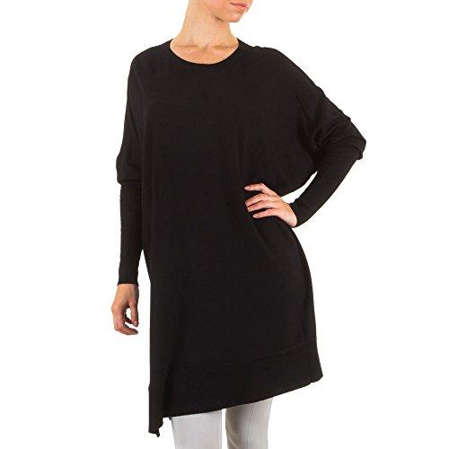 Ital-Design Damen Tunika, Fledermaus Strick Tunika Long, KL-C440, Schwarz, ONE Size