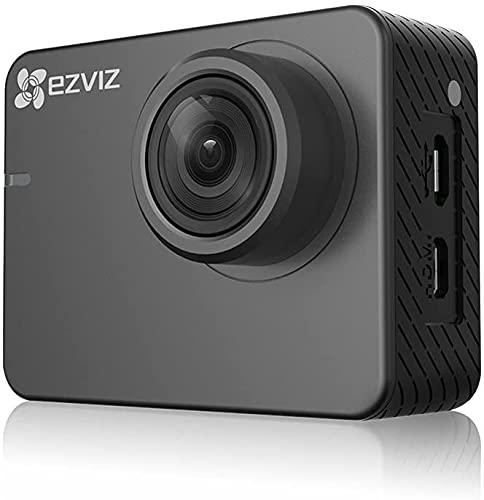 Ezviz S2 Lite - Cámara de acción Deportiva, WiFi FHD 1080p 60 fps, 8 MP, BLE 4.0, Modo de conducción, Soporte MicroSD hasta 256 GB, Gris