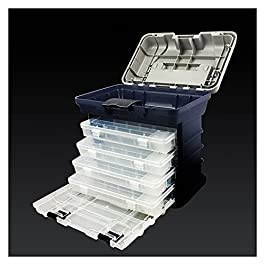 Boîte À Outils Boîte à outils 5 couches 5 couches portative avec 3 tire-tiroirs amovibles à 4 couches pour stockage…