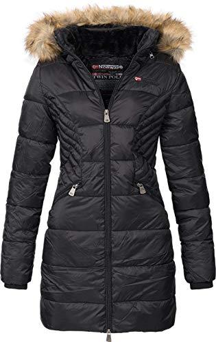 Geographical Norway ABEILLE - Parka grande para mujeres - Abrigo de invierno abrigado - Manga larga y cuello de piel sintética - Chaqueta para mujeres de tela resistente (NEGRO L)