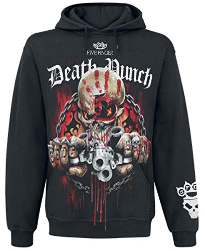 Five Finger Death Punch Assassin Uomo Felpa con Cappuccio Nero L 100% Cotone Regular