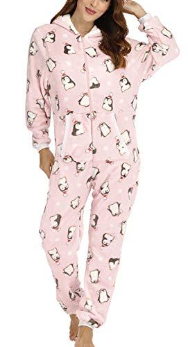 Orshoy Damen Fleece-Onesie mit Bündchen an Arm- und Beinabschluss, extrem kuscheliger Damen Jumpsuit, Overall Einteiler, Homewear Rosa & Pinguin XL
