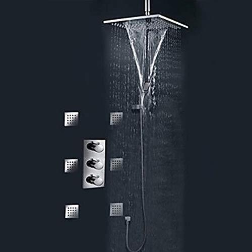 Kaper Go Juego de grifo de ducha empotrado de cobre con caja de ducha empotrada en pared de la ducha del hotel Cabezal de ducha montado en la pared