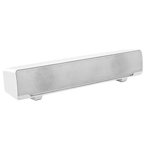Barra de Sonido estéreo con Cable USB Reproductor de música Caja de Sonido Envolvente de Graves Entrada de 3,5 mm para computadora de Escritorio/portátil/TV/teléfono Inteligente(Blanco)