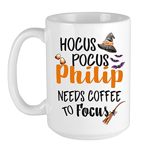 Hocus Pocus Philip Needs Coffee To Focus - Halloween Coffe Mugs With Name Best Gift Idea For Halloween Lovers Halloween Decor Fall Mugs 15oz White Ceramic Halloween Mug With Bats And Witch