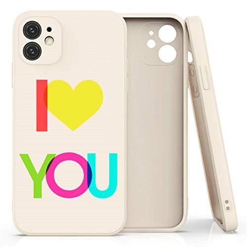 Mixroom - Cover Custodia per iPhone 7 in Silicone TPU Opaco con Bordi Piatti Colore Beige Fantasia I Love You 409