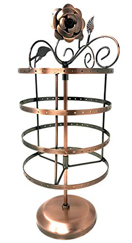 72 Pairs/144 Holes Rose on Top Rotating Earring Holder / Earring Tree / Earring Oraganizer / Earring Stand / Earring Display