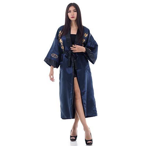 Princess of Asia Japanischer Wende-Kimono Satin Morgenmantel für Damen & Herren mit Drachen-Stickerei (Dunkelblau, Einheitsgröße)