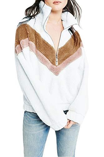 KOOSUFA Womens Teddy Fleece Jumper Sweatshirt Jacket Coat Warm Outerwear Zipper Long Sleeve Pullover Outwear Tops Size LUK 16 18 Style 3 White