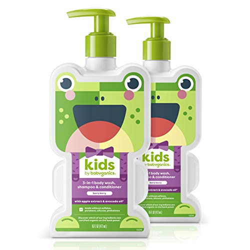 Babyganics Kids 3-in-1 Shampoo Conditioner Body Wash, Berry Berry, 2 pack