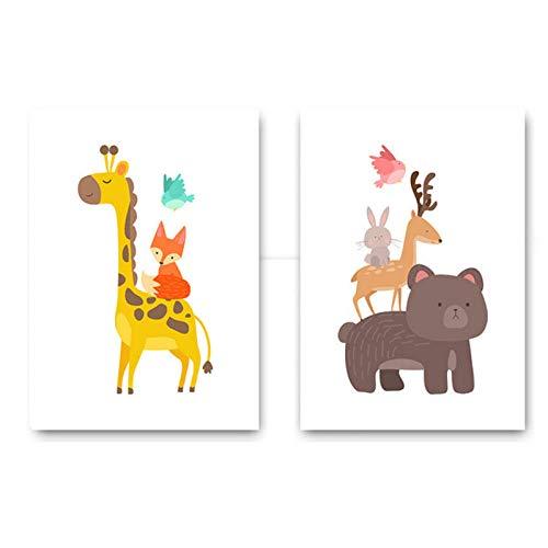 N/A Wandkunst Leinwand Malerei Bier Giraffe Fuchs Tier Poster Minimalistischen Cartoon Kindergarten Bild Baby Wohnzimmer Dekor 40x60 cm x 2 Kein Rahmen