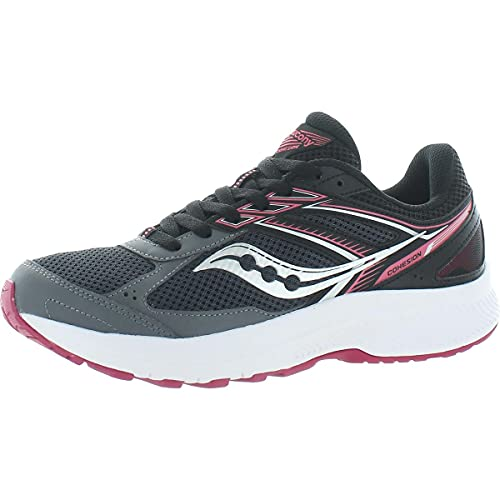 Saucony Women's Cohesion 14 Road Running Shoe, Charcoal/Coral, 8.5