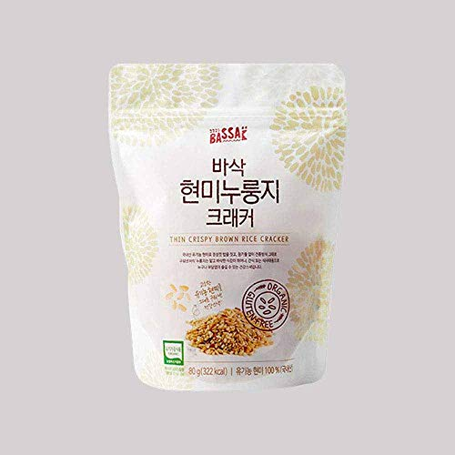Bassak Korean Scorched Rice Cracker, Domestic Brown Rice from Korea, Thin Crispy Healthy Snacks, Gluten-Free Organic Nurungji, Traditional Crunch, Enjoy K-Food as Cereal Canape Salad & More 누룽지 80g