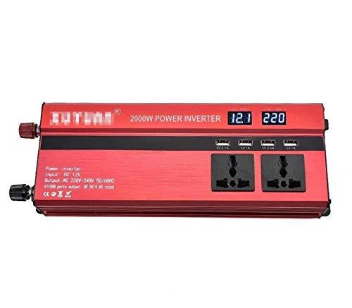 600W / 1200W / 2000W / 2600W / 3000W / 4000W INVERTER DC 12V / 24V a AC 110V / 220V Convertidor de voltaje de AC 110V / 220V Inversor de Sines puro con puertos USB y enchufe universal, pantalla LCD, p
