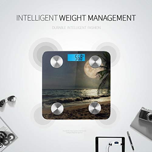 JXCSGBD Good Night Lovely Full Moon Sky Best Rated Bathroom Scales Digital Scale Body Weight Body Fat Measurement Tracks 8 Key Compositions Analyzer Sync with Fitness Apps 400 Lbs