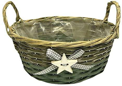 CALIPSO Rustic Lined 25cm Round Woven Wicker Christmas Basket with Star (Pack of 6 Baskets)
