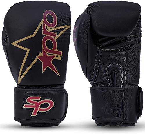 Starpro Premier Guantes de Boxeo | Piel de Vacuno de Primera Calidad | Granate y Negro | para Entrenamiento Profesional y Sparring en Boxeo Muay Thai Kickboxing y Fitness | Hombres y Mujeres