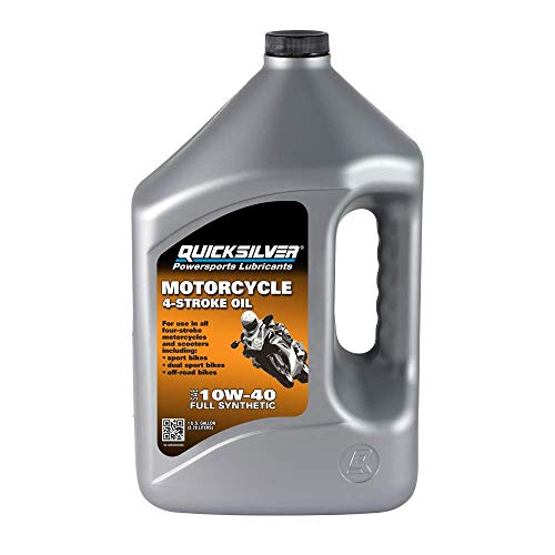 Quicksilver 8M0060085 10W-40 Full Synthetic 4-Stroke Motorcycle Oil – 1 Gallon