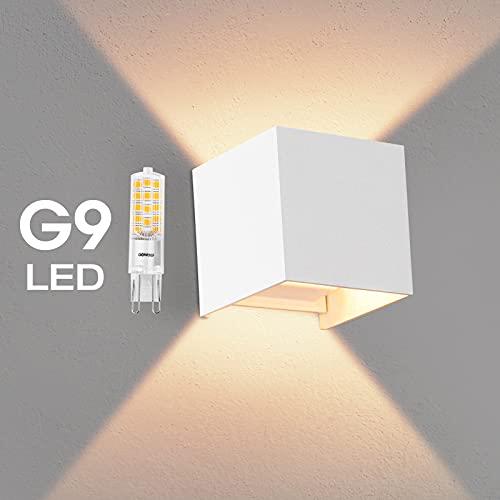 OOWOLF Lampara De Pared, Apliques De Pared Exterior Impermeable IP65 Con Luz Blanco Cálido 3000K LED Bombillas Reemplazables Para Interior Exterior Aplique Con Bombilla