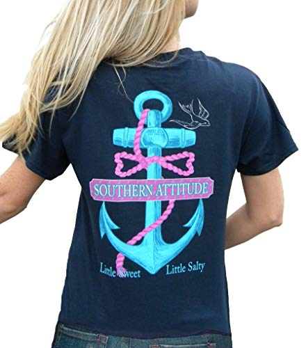 Southern Attitude Women's Salty Navy Anchor Bow Tie Preppy Little Sweet Little Salty Short Sleeve T Shirt (Small)