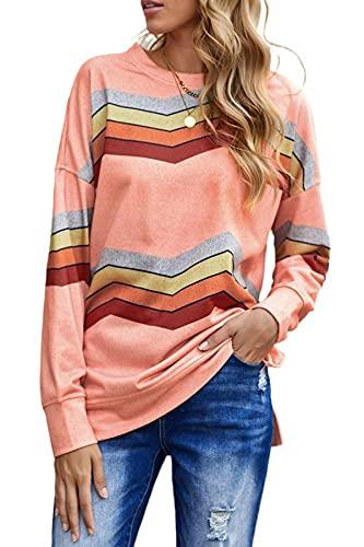 SMENG Damen Casual Crewneck Sweatshirt gestreift Langarm Seitlich Split Pullover Tops, 3-pink, Klein