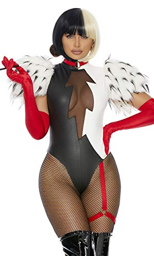 Forplay Women's 3Pc. Sexy Movie Villain Character Costume, Black White, L/XL