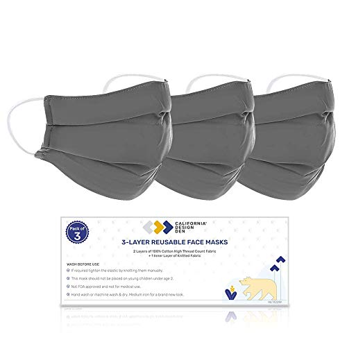 100% Cotton Face Mask Washable (XL/XXL) - Dark Grey 3 Piece Set, Reusable & Breathable, Densely Woven Fabric, 3 Layer Protection, Natural Cloth Mask with Elastic Ear Loops, Designed For Home & Office