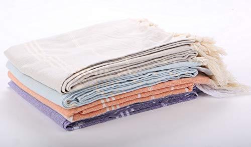 Ruimanda(uk - Telo mare in cotone, 100 x 180 cm, con nastro colorato e nappa importato, asciugamano da spiaggia in cotone ad asciugatura rapida e super morbido, alla moda, con frange Viola