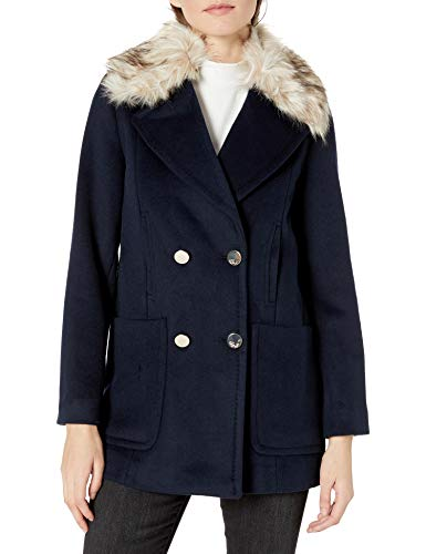 Eliza J womensEOHMH381Wool Blend Double Breasted Topper with Faux Fur Collar Wool Coats - Blue - 14