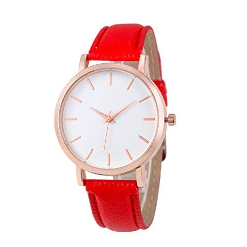 Preisvergleich Produktbild Bovake Mode Uhren Leder Edelstahl Männer Frauen Stahl Analog Quartz Armbanduhr (Rot)