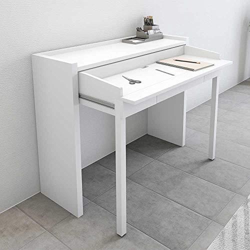 Pharao24 Weißer Schreibtisch mit ausziehbarer Platte Rollen