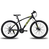 Hiland 27.5 Inch Mountain Bike Shimano 21Speed MTB Bicycle with Suspension Fork,Dual-Disc Brake,Fenders MTB Bicycle Urban City Bicycle Yellow