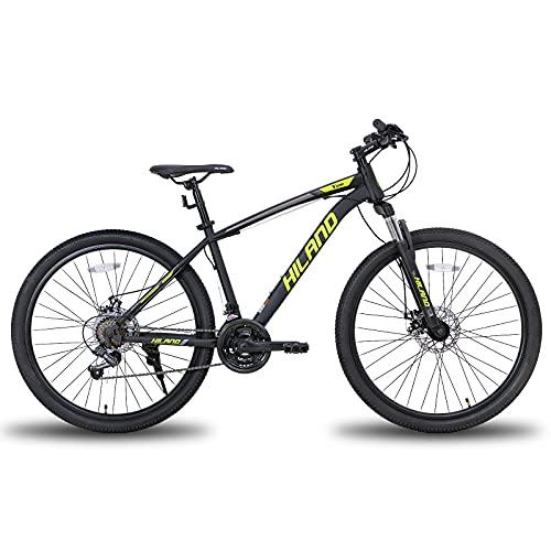 Hiland Mountain bike da 26/27,5 pollici, con telaio in acciaio, forcella ammortizzata per bicicletta, Urban Commuter City, colore: nero/giallo