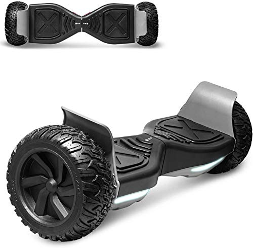 "Longtime All-Terrain Off-Road Hoverboard 8.5"" Wheels Electric Self Balancing Scooter Hover Board for Adults and Kids Built-in Bluetooth Speaker and LED Lights UL2272 Certified (Black)"