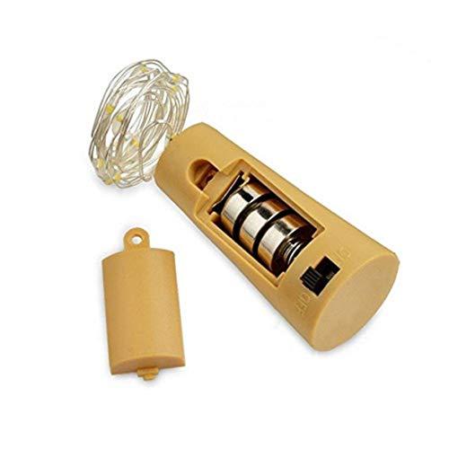 Logicstring Luces de botella de corcho para botellas de vino, 2 m, 20 luces LED de alambre de cobre para fiestas, cumpleaños, bodas, decoración al aire libre (blanco cálido) [Clase energética A++++]