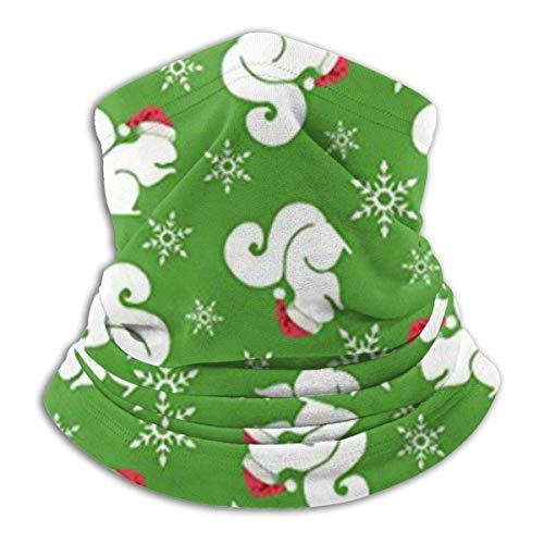 Ewtretr Weihnachten Eichhörnchen Winter Fleece Hals Gamasche Halswärmer Gesichtsmaske im Freien
