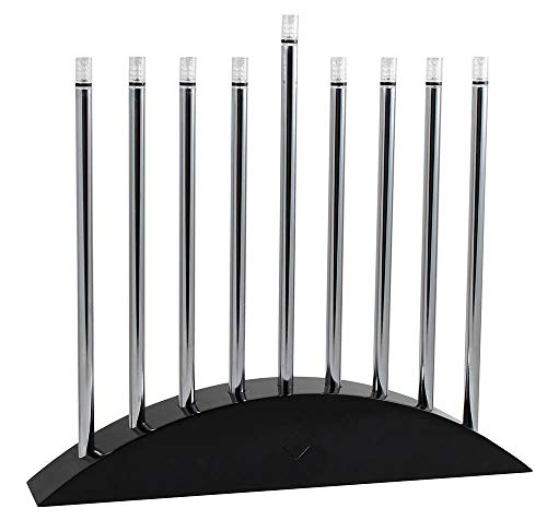 Zion Judaica Large LED Electric Hanukkah Menorah - New Classic Black & Silver Arch Style 14' Wide X 12.5' Tall